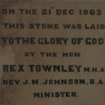 Dedication stone front of church